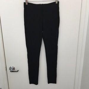 Zara black skinny dress pants with suede side sz M